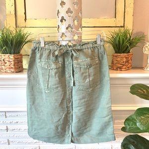 Sundance Sage Green Linen Button Down Midi Skirt